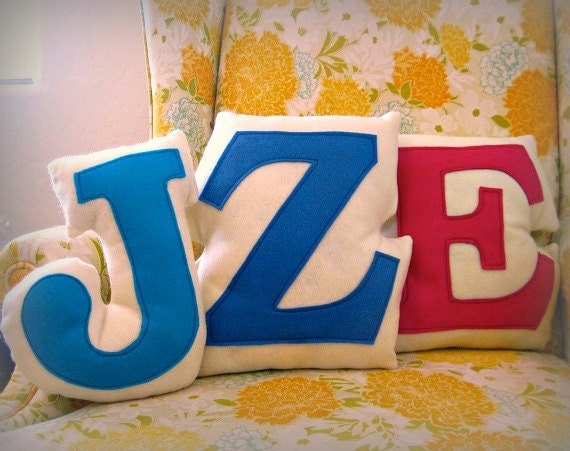 Custom Personalized Monogram Initial Letter Pillows Eco Friendly - Reserved for Zedhead Designs
