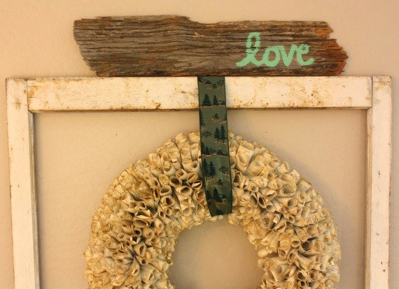 Valentine Love Sign Reclaimed Barn Wood Sage Green Eco Friendly Cottage Chic