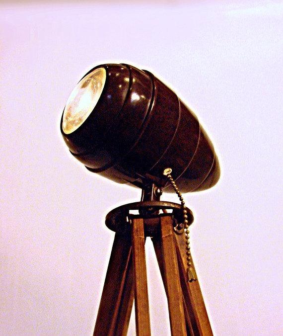 industrial lighting tripod floor lamp spotlight with vintage. Black Bedroom Furniture Sets. Home Design Ideas