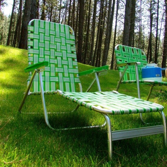 Webbed Lawn Beach Chair Lounger Patio Chaise Lounge
