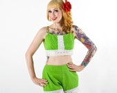 Vintage 1960s Hand-made Green Dot Pinup Playsuit Medium