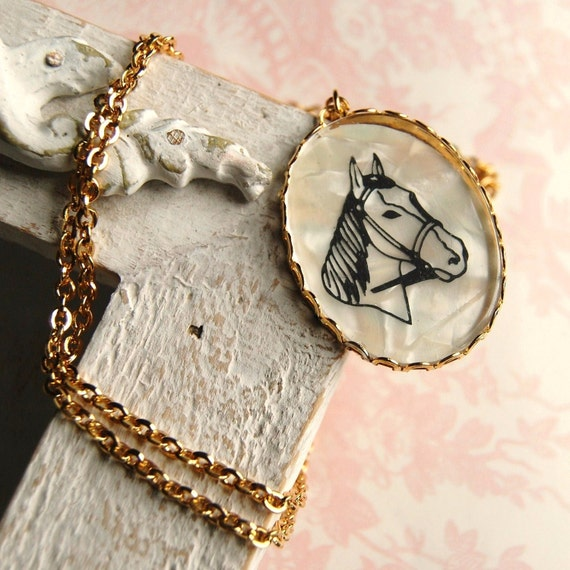 Vintage Horse Cameo Necklace