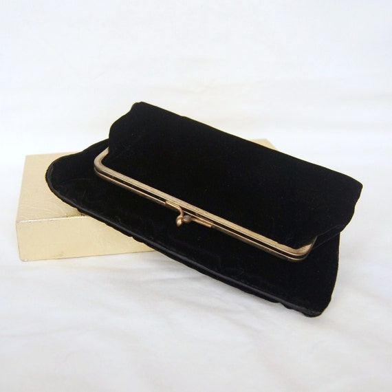 Vintage Black Velvet Fold Over Clutch