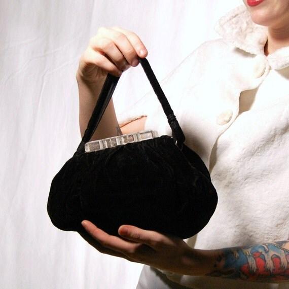 Vintage Lucite and Black Velvet Formal Handbag
