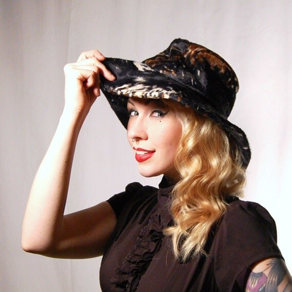 Vintage 1960s Faux Fur Bohemian Wide-Brim Hat