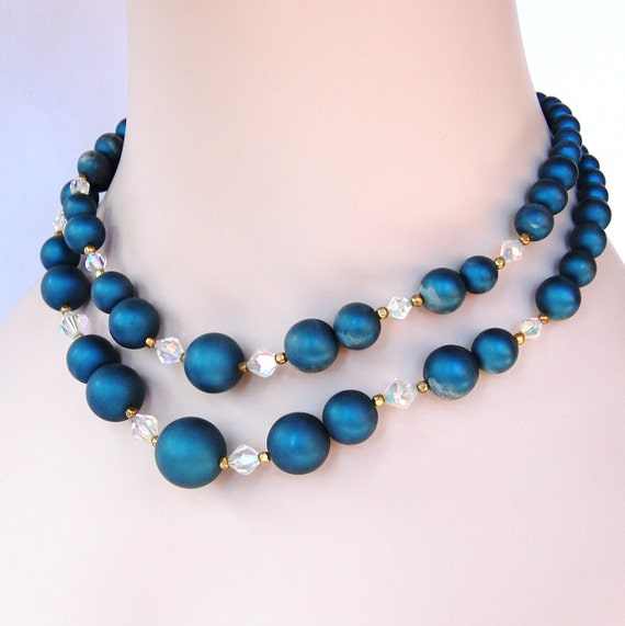 Vintage Sapphire Beaded Necklace