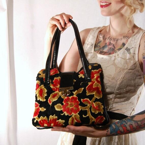 Vintage Black Floral Tapestry and Vinyl Handbag