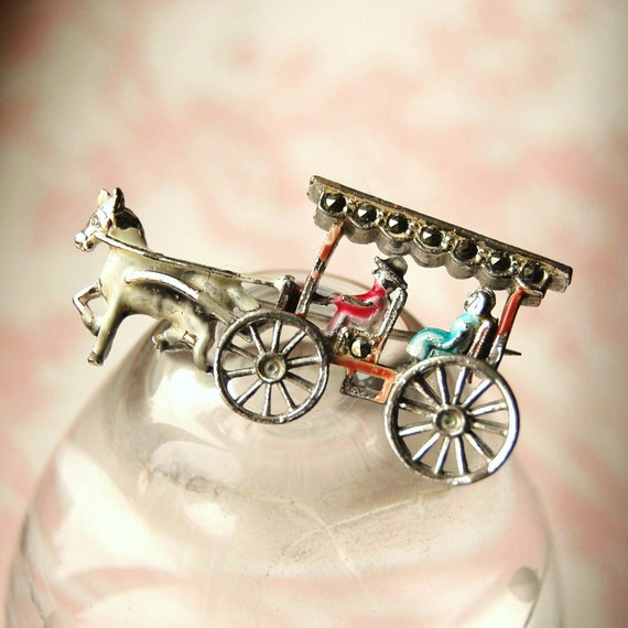 Vintage Marcasite Carriage Brooch