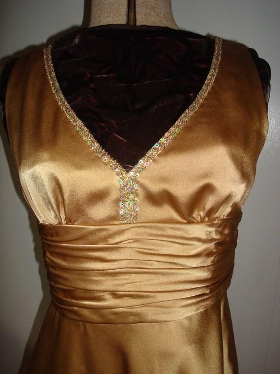 LAST CHANCE SALE Gold vintage cocktail dress