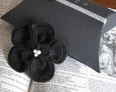 Kate- Elegant Black Recycled Felt Flower Hair Clip