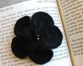 Sofia- Beautiful Black Recycled Felt Flower Hair Clip