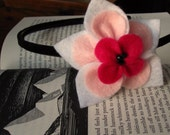 Desdemona- Beautiful White and Pink Recycled Felt Flower Headband