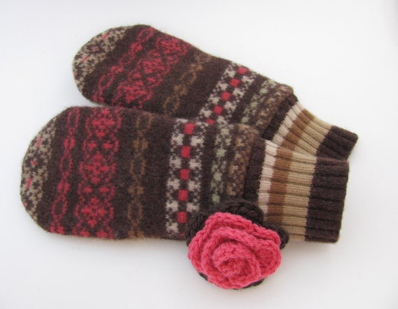 Felted Wool Mittens Fleece Lined Brown Camel and Salmon Rose Fair Isle
