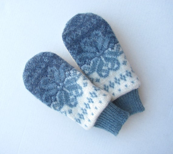 Felted Wool Sweater Mittens Fleece Lined Blues and Ivory Nordic Design