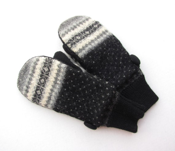 Felted Wool Mittens from Recycled Sweaters Fleece Lined Beige Grey and Black Fair Isle