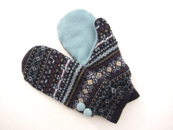Felted Wool Mittens from Recycled Sweaters Fleece Lined Navy  Plum and Robin Egg Blue Fair Isle