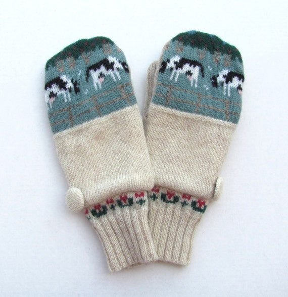 Wool Mittens Fleece Lined Fair Isle with Cows