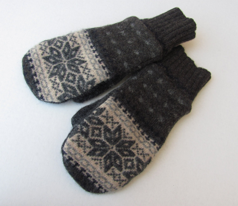 Felted wool sweater mittens fleece lined nordic by jmariecreates