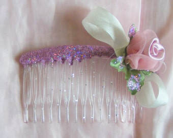 Pink rose hair comb