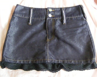 Ladies denim skirt with pearl and lace accents