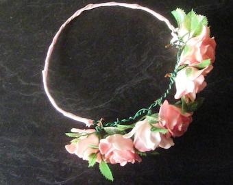 Pink rose hair garland