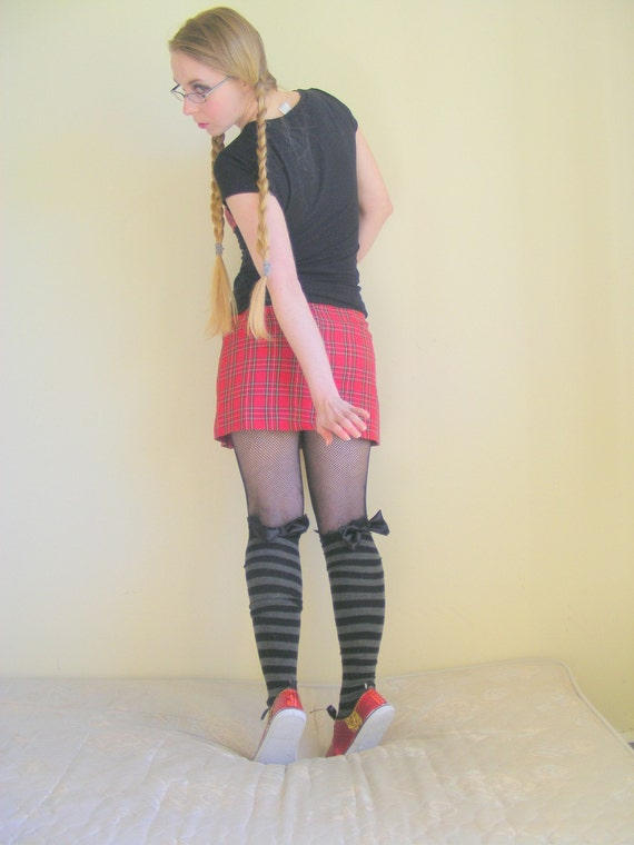 Black and grey striped knee high socks