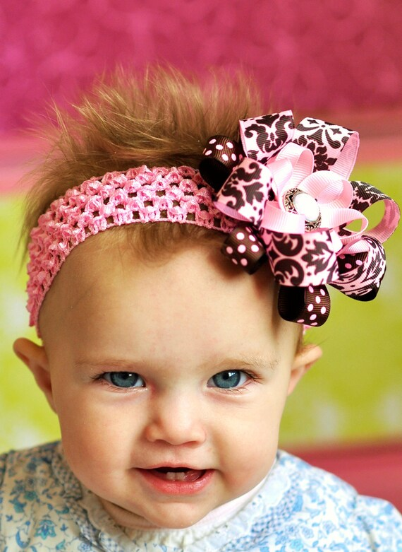 pink and brown hair bow...baby bow...lovely newborn hair bow/ infant  toddler and little girls/ baby hair bow