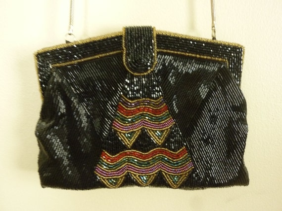 Vintage Beaded Handbag Delill Made in Hong Kong Long Chain Shoulder Strap