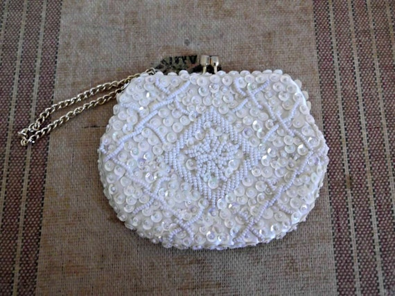 1960s Wristlet Evening Bag White Beaded Sequined Purse Great Gatsby Flapper Style
