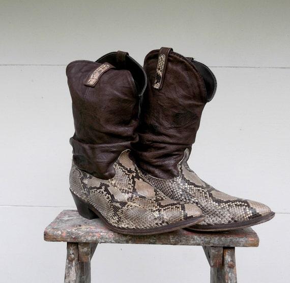 RESERVED for Darryl M - Mens Snakeskin/Python Cowboy Boots/Acme Brand/Vintage 1970s-1980s Size 11