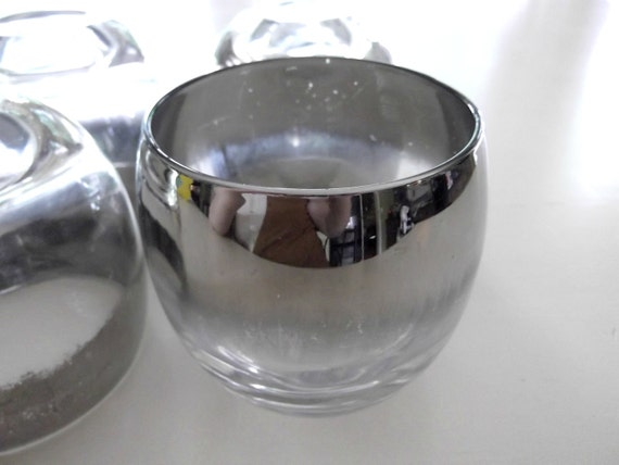 Mad Men Scotch Glasses / Roly Poly Silver Rimmed / Mid-Century Barware / Set of 4