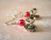 Tea Cup Earrings, Red Glass Pear Earrings, Red Glass Pearl Beads, Tea Cup Pendants, Earrings, Glass Earrings
