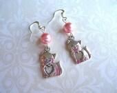 Cat Earrings, Cat Jewelry, Cat,  Pink Glass Pearl, Bead Earrings