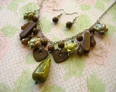 Green Brown Bead Necklace, Green Brown Beads