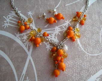 Orange Beads Necklace, Orange Jewelry, Orange Earrings, Bead Jewelry, Bead Necklace