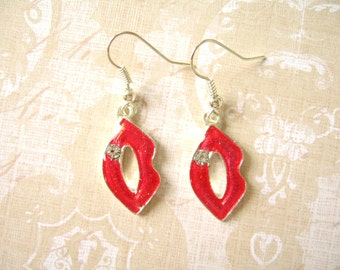Red Lip Earrings, Red Jewelry, Red Earreings, Lip Jewelry