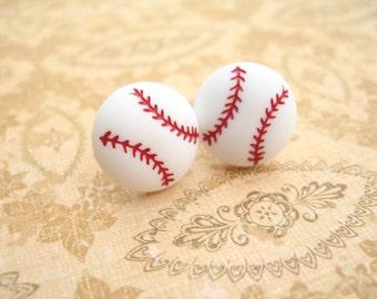 Large Baseball Button Earrings Button Earrings Baseball Jewelry Sport Earrings