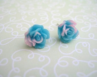 Rose Earrings, Resin Earrings, Blue Flower Earrings, Resin Cabochons, Cabochons Earrings, Flower Earrings, Rose Earrings, Blue Earrings,