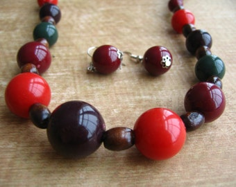 Beads and Wood Necklace & Earnings