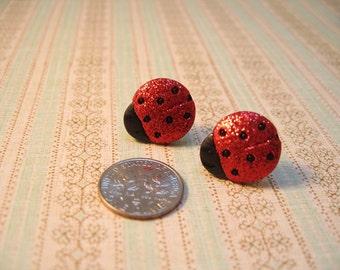 Ladybug Earring, Red Ladybug Earring, Animal Earrings, Ladybug Jewelry, Animal Jewelry - 18mm