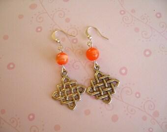 Orange Cat Eye Earrings, Cat Eye Jewelry, Cat Eye Earrings, Orange Earrings, Orange Jewelry