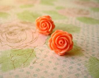 Orange Rose Flower Earrings, Orange Resin Flower Earrings, Resin Cabochons Earrings, Flower Earrings, Rose Earrings, 14mm