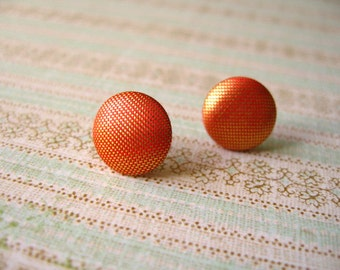 Orange Post Earrings, Orange Fabric Earrings, Orange Button Jewelry