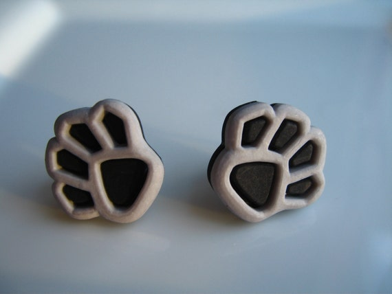 Black and Gray Paw Buttons Earrings