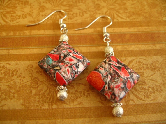 Red Turquoise Rhombus Earrings