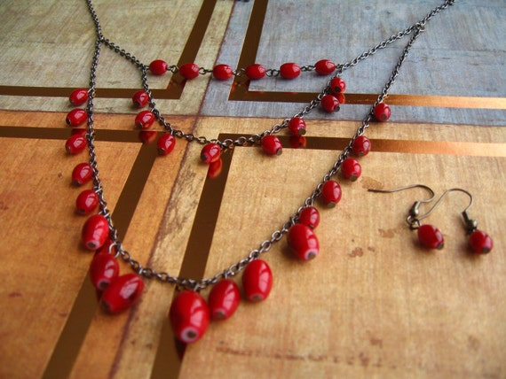 Blood Red Beads Necklace & Earnings