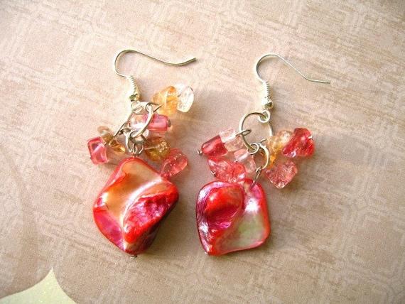 Seashell Beads Earrings, Red Jewelry, Red Earrings