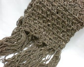 Long Crochet Scarf, Barley Brown, Fringe Tassels