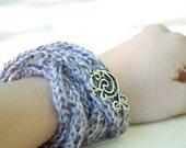 Wrap Bracelet, knit cord Necklace with Silver Brooch, Jewelry, purple