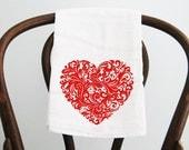 Flour Sack Towel  Scroll Heart